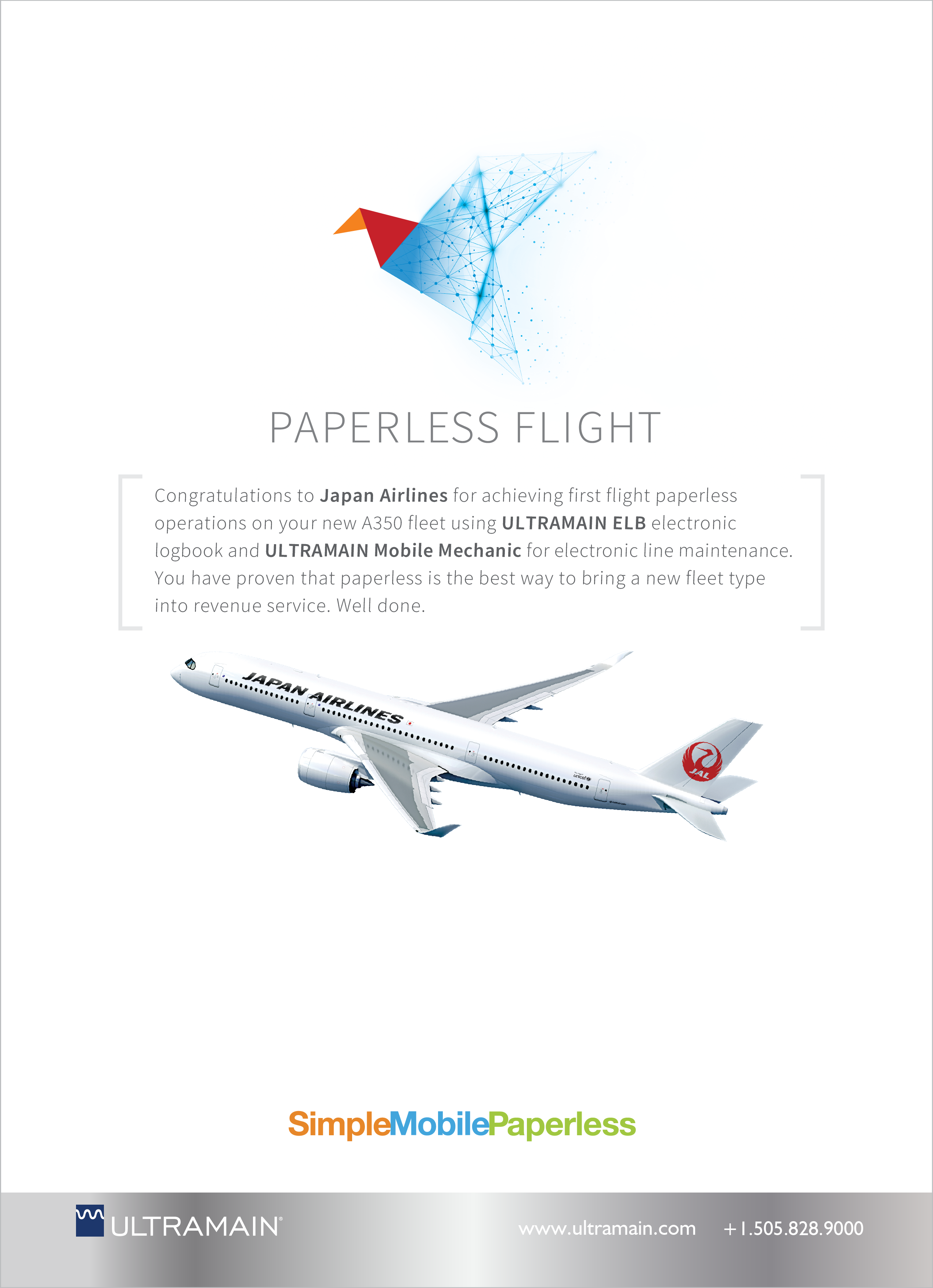 japan airlines paperless flight